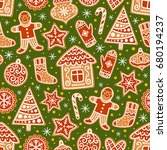 winter seamless patterns with... | Shutterstock .eps vector #680194237