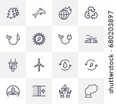 set of 16 ecology outline icons ... | Shutterstock .eps vector #680203897
