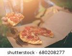 girl eating on moto scooter or... | Shutterstock . vector #680208277