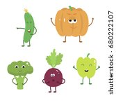 set of funny characters from... | Shutterstock .eps vector #680222107