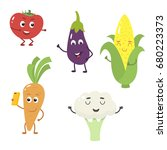 set of funny characters from... | Shutterstock .eps vector #680223373