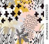 watercolor asian crane bird... | Shutterstock .eps vector #680225023