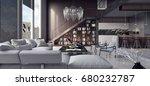 living room  interior design 3d ... | Shutterstock . vector #680232787