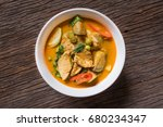 thai green curry with chicken. | Shutterstock . vector #680234347
