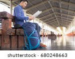 man traveler with backpacker... | Shutterstock . vector #680248663