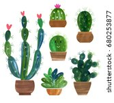 cactus collection | Shutterstock . vector #680253877