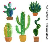 cactus collection | Shutterstock . vector #680260147