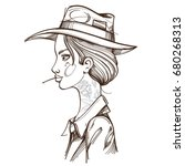 girl in a cowboy hat...   Shutterstock .eps vector #680268313