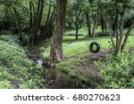 car tire used as swing on tree...   Shutterstock . vector #680270623