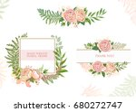 card with flowers. set of cards. | Shutterstock .eps vector #680272747