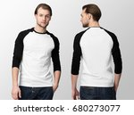white baseball t shirt with... | Shutterstock . vector #680273077
