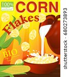 corn flakes in a bowl. milk... | Shutterstock .eps vector #680273893