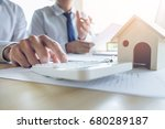 man sign a home insurance... | Shutterstock . vector #680289187