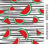 water melon seamless pattern... | Shutterstock .eps vector #680291113