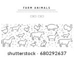 vector farm animals silhouettes ... | Shutterstock .eps vector #680292637
