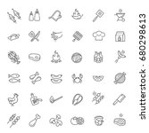 vector line barbecue icons set... | Shutterstock .eps vector #680298613