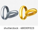 wedding rings set. vector... | Shutterstock .eps vector #680309323