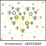 heart shaped bee background. ...   Shutterstock .eps vector #680333683