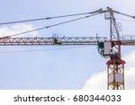 construction tower crane cabin... | Shutterstock . vector #680344033