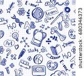 back to school seamless raster... | Shutterstock . vector #680346373