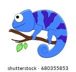 cute funny cartoon chameleon.... | Shutterstock .eps vector #680355853