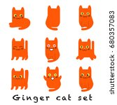 ginger cat set. stickers made... | Shutterstock .eps vector #680357083