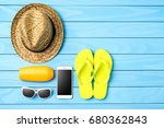beach or summer accessories on... | Shutterstock . vector #680362843