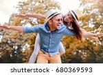 dating in the park. loving...   Shutterstock . vector #680369593
