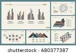 six statistics slide templates... | Shutterstock .eps vector #680377387