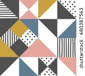 Geometric pattern. Abstract triangle background with hand drawn stripe and polka dot  Vector illustration.  | Shutterstock vector #680387563