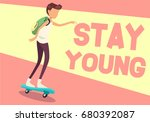 young man on skateboard stay... | Shutterstock .eps vector #680392087