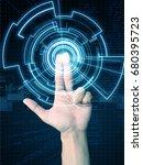hand press virtual screen | Shutterstock . vector #680395723