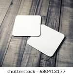 two blank white square beer... | Shutterstock . vector #680413177
