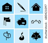 set of 9 mixed icons such as... | Shutterstock .eps vector #680421097