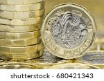 New One Pound Coins. A Stack O...