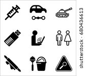 set of 9 miscellaneous icons... | Shutterstock .eps vector #680436613