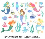 underwater life collection.cute ... | Shutterstock .eps vector #680438563