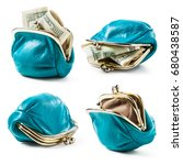 blue coin purse with money and... | Shutterstock . vector #680438587