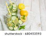 summer fresh water detox with...   Shutterstock . vector #680453593