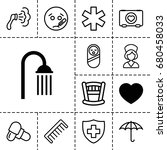 care icon. set of 13 filled and ... | Shutterstock .eps vector #680458033