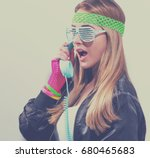 woman in 1980's fashion with... | Shutterstock . vector #680465683