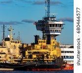 yellow icebreakers moored at...   Shutterstock . vector #680466577