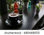 the corner of the laptop coffee ... | Shutterstock . vector #680468053