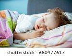 cute little boy is sleeping... | Shutterstock . vector #680477617