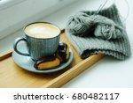 coffee in beautiful grey cup... | Shutterstock . vector #680482117