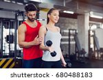 young adult woman working out... | Shutterstock . vector #680488183