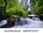 waterfall in natural deep...   Shutterstock . vector #680491927