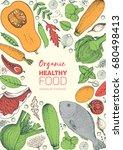 healthy food frame vector... | Shutterstock .eps vector #680498413