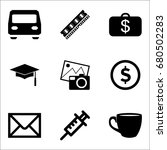 set of 9 miscellaneous icons... | Shutterstock .eps vector #680502283