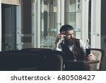 man waiting with bottle of wine ... | Shutterstock . vector #680508427